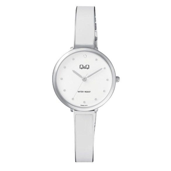 Q&Q női ékszeróra, ezüst színű tok,ezüst/fehér színű szíj, fehér számlap, F669J201Y