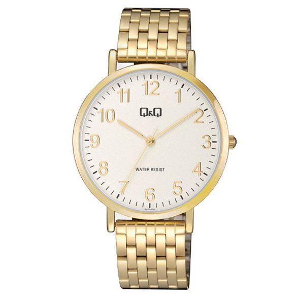 Q&Q férfi fémcsatos karóra, arany színű tok, arany színű szíj, fehér számlap, QA20J004Y
