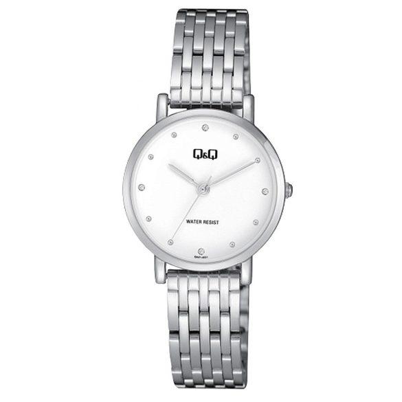 Q&Q női fémcsatos karóra, ezüst színű tok, ezüst színű szíj, fehér számlap, QA21J221Y