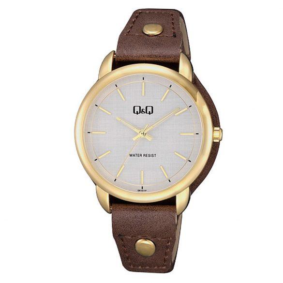 Q&Q női bőrszíjas karóra, arany színű tok, barna színű szíj, szürke számlap, QB19J101Y