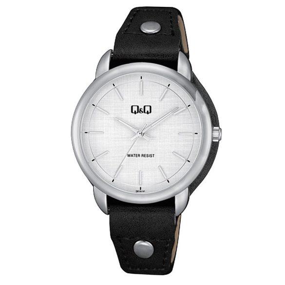 Q&Q női bőrszíjas karóra, ezüst színű tok, fekete színű szíj, fehér számlap, QB19J301Y