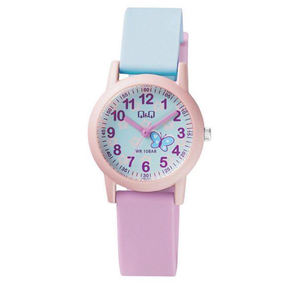 Q&Q női műanyag szíjas karóra, rózsaszín színű tok, rózsaszín/kék színű szíj, kék számlap, VS49J003Y