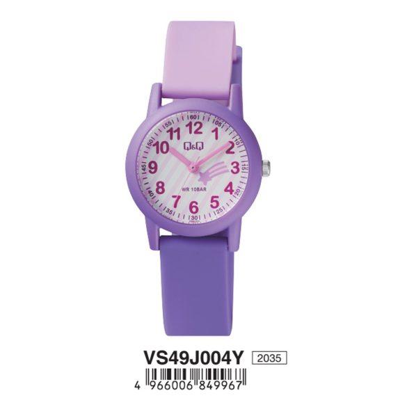 Q&Q női műanyag szíjas karóra, lila színű tok, lila/rózsaszín színű szíj, figurás számlap, VS49J004Y