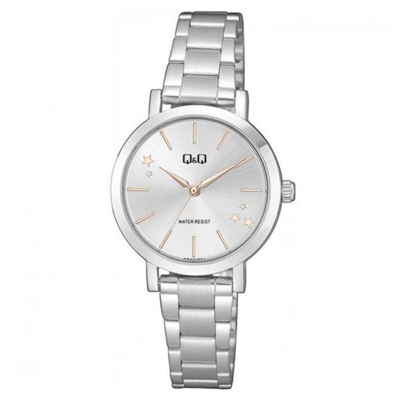 Q&Q női fémcsatos karóra, quartz, ezüst színű tok és csat, ezüst színű számlap, Q893J201Y
