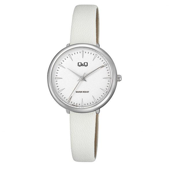 Q&Q női bőrszíjas karóra, quartz, ezüst színű tok, fehér szíj, fehér számlap, QC35J301Y