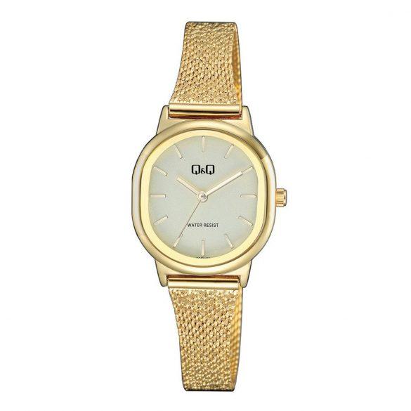 Q&Q női fémcsatos karóra, quartz, arany színű tok és csat, pezsgő színű számlap, QC37J011Y
