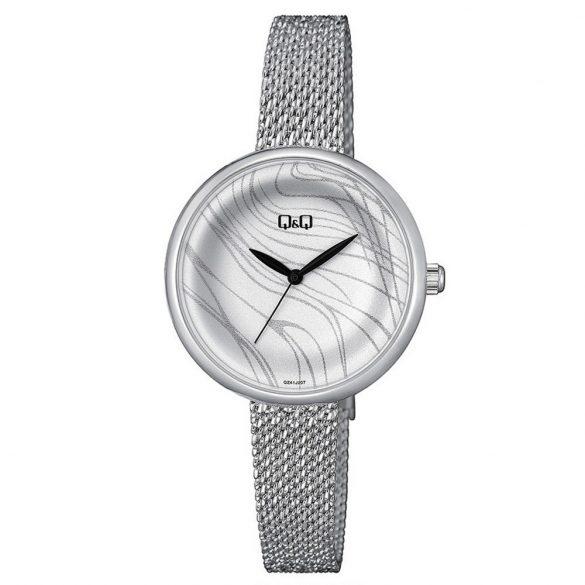 Q&Q női fémcsatos karóra, quartz, ezüst színű tok és csat, fehér számlap, QZ41J018Y