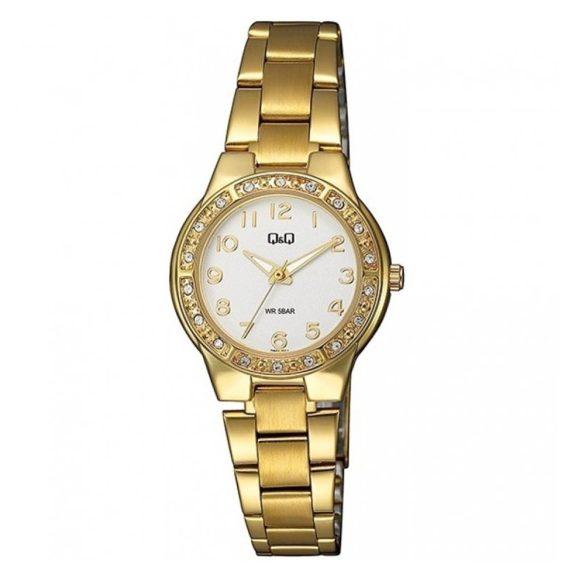 Q&Q analóg női karóra, arany színű fém tok, arany színű nemesacél csat, fehér számlap, ásványüveg, quartz szerkezet, 50 m (5 ATM) vízállóság - Q691J014Y
