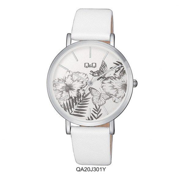 Q&Q analóg női karóra, ezüst színű fém tok, fehér bőrszíj (pu), fehér figurás számlap, ásványüveg, quartz szerkezet, cseppmentes vízállóság - QA20J301Y