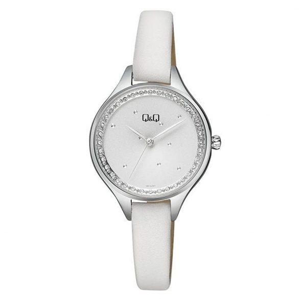 Q&Q analóg női karóra, ezüst színű fém tok, fehér bőrszíj (pu), fehér számlap, ásványüveg, quartz szerkezet, cseppmentes vízállóság - QB73J301Y