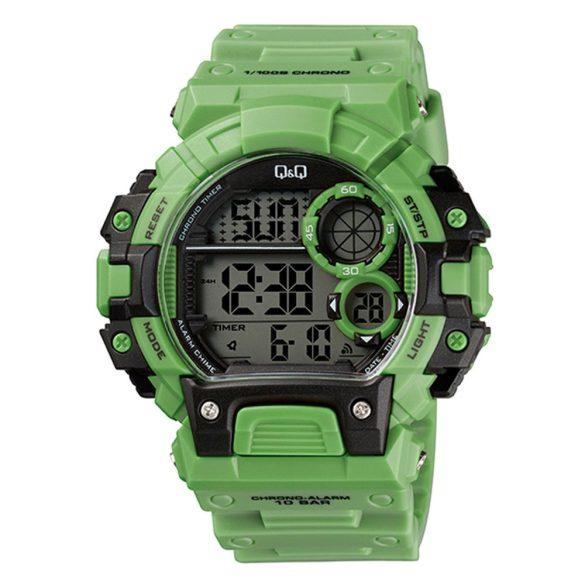 Q&Q digitális LED-es férfi karóra, zöld színű műanyag tok, zöld műanyag szíj, LCD számlap, ásványüveg, quartz szerkezet, 100 m (10 ATM) vízállóság - M144J013Y