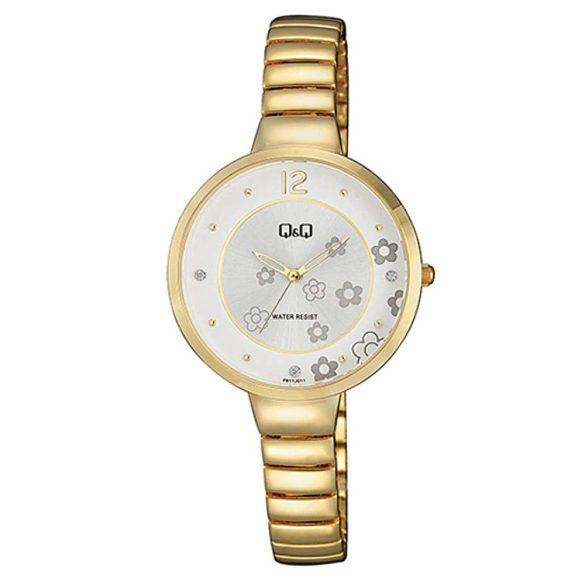 Q&Q analóg női karóra, arany színű fém tok, arany színű fém csat, fehér szürke számlap, ásványüveg, quartz szerkezet, cseppmentes vízállóság - F611J011Y