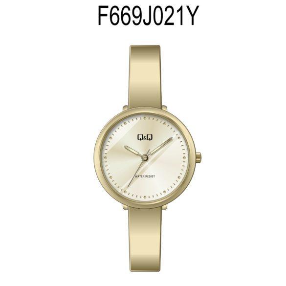 Q&Q analóg női karóra, arany színű fém tok, arany színű nemesacél csat, fehér számlap, ásványüveg, quartz szerkezet, cseppmentes vízállóság - F669J021Y