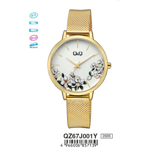 Q&Q analóg női karóra, arany színű fém tok, arany színű nemesacél csat, fehér számlap, ásványüveg, quartz szerkezet, cseppmentes vízállóság - QZ67J001Y