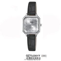 Q&Q analóg női karóra, ezüst színű fém tok, fekete bőrszíj, fehér számlap, ásványüveg, quartz szerkezet, cseppmentes vízállóság - QZ73J301Y