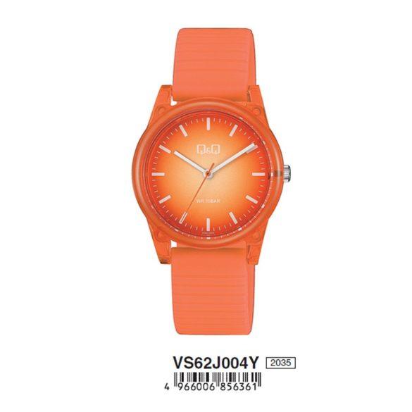Q&Q analóg női karóra, narancssárga színű műanyag tok, narancs műanyag szíj, narancssárga számlap, ásványüveg, quartz szerkezet, 100 m (10 ATM) vízállóság - VS62J004Y