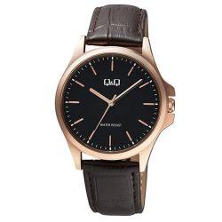 Q&Q férfi karóra, quartz, rózsaarany színű tok, sötétbarna szíj, fekete számlap, QA06J102Y