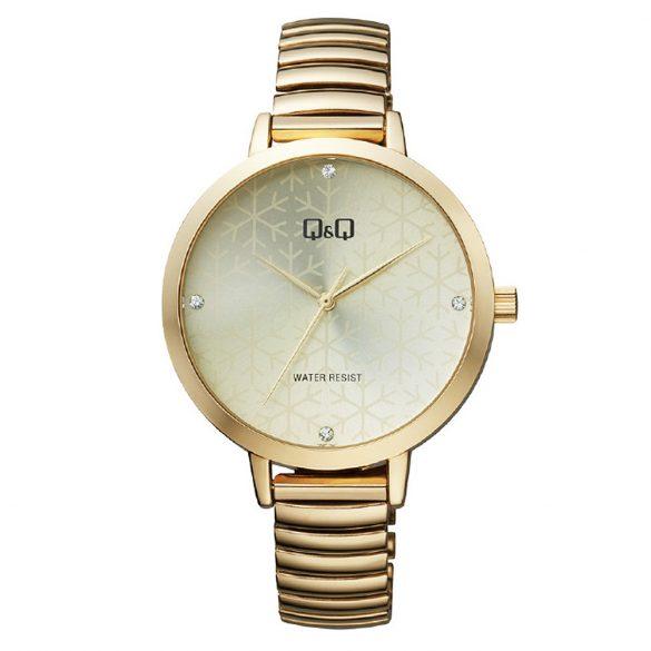 Q&Q női rugóscsatos karóra, quartz, arany színű tok és csat, arany színű számlap, QB49J010Y
