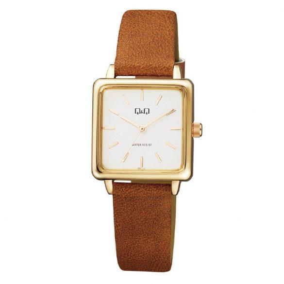Q&Q női bőrszíjas karóra, quartz, arany színű tok, barna szíj, fehér számlap, QB51J111Y