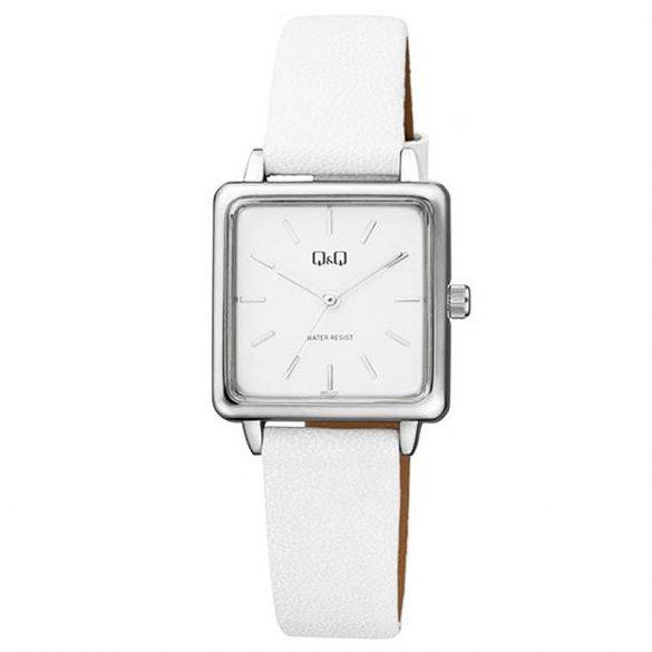 Q&Q női bőrszíjas karóra, quartz, ezüst színű tok, fehér szíj, fehér számlap, QB51J301Y