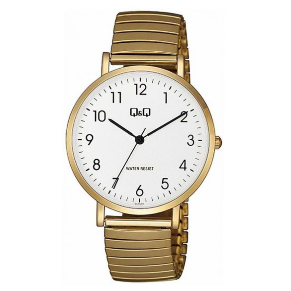 Q&Q férfi rugóscsatos karóra, quartz, arany színű tok és csat, fehér számlap, QA20J034Y
