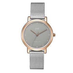 Q&Q női fémcsatos karóra, quartz, rózsaarany színű tok, ezüst színű csat, szürke színű számlap, QA21J412Y
