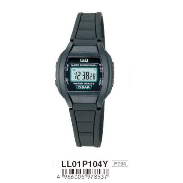 Q&Q női műanyag LCD karóra, fekete színű  tok és csat, LL01P104Y
