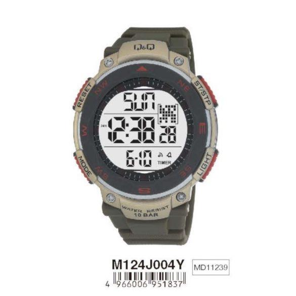 Q&Q férfi műanyag karóra, quartz/LCD, szürke színű, M124J004Y