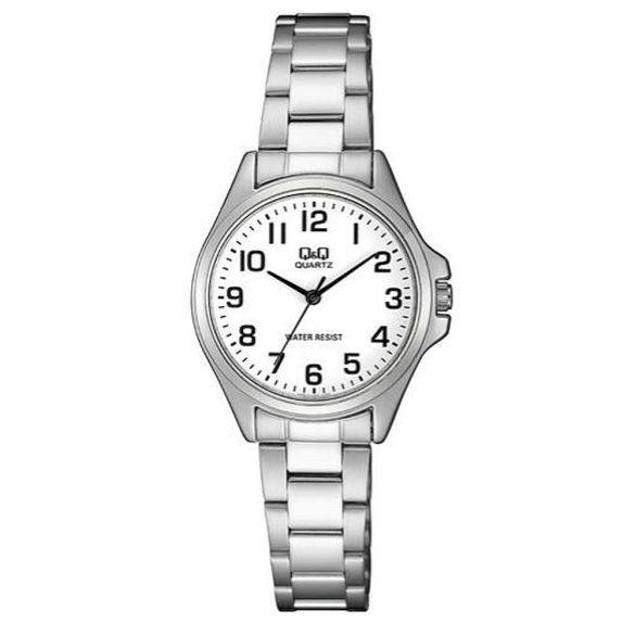 Q&Q analóg női karóra, ezüst színű fém tok, ezüst színű nemesacél csat, fehér számlap, ásványüveg, quartz szerkezet, cseppmentes vízállóság - QA07J204Y