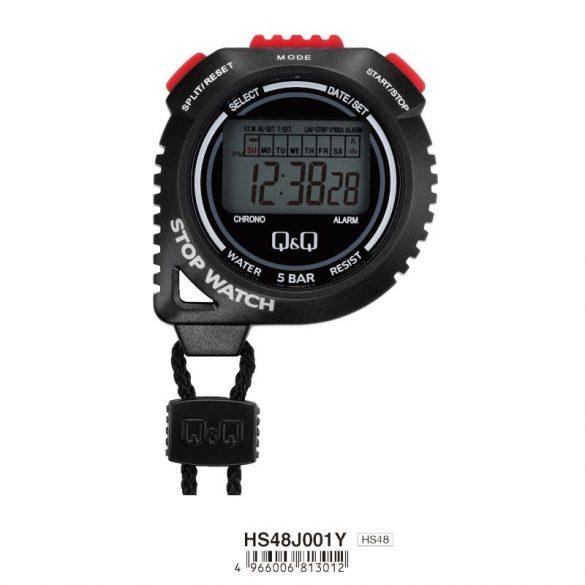 Q&Q fekete stopper, alap funkciók, piros gombok, 50 m vízállóság, HS48J001Y