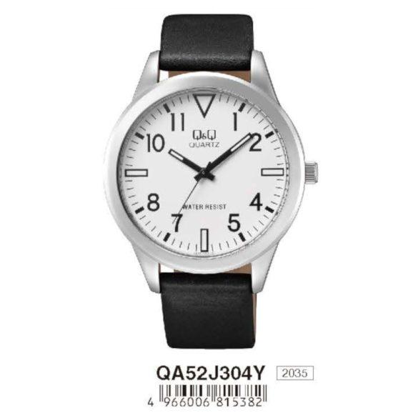 Q&Q féri bőrszíjas karóra, ezüst színű tok, fekete színű szíj, fehér színű számlap, QA52J304Y