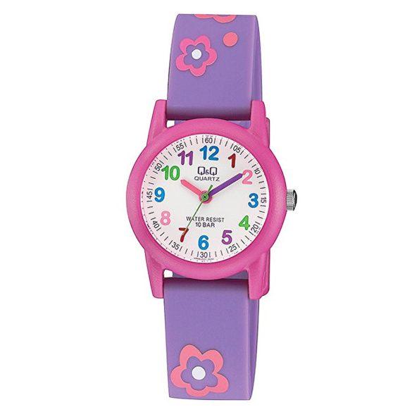 Q&Q analóg gyerek karóra, rózsaszín műanyag tok, lila műanyag szíj, rózsaszín számlap, ásványüveg, quartz szerkezet, 100 m (10 ATM) vízállóság - VR99J001Y