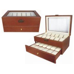 Óratartó doboz, 24 rekeszes, barna, bézs, párnás