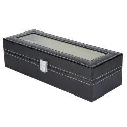 Óratartó doboz, 6 rekeszes, kívűl fekete műbőr borítás, belűl fehér textíl