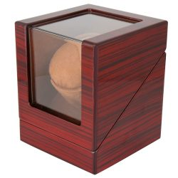 Óraforgató doboz, 1db órához, kívűl barna fa felület, belűl barna textil