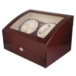 Óraforgató doboz, 4db+6db órához, kívűl barna fa magasfényű felület, belűl bézs műbőr borítás