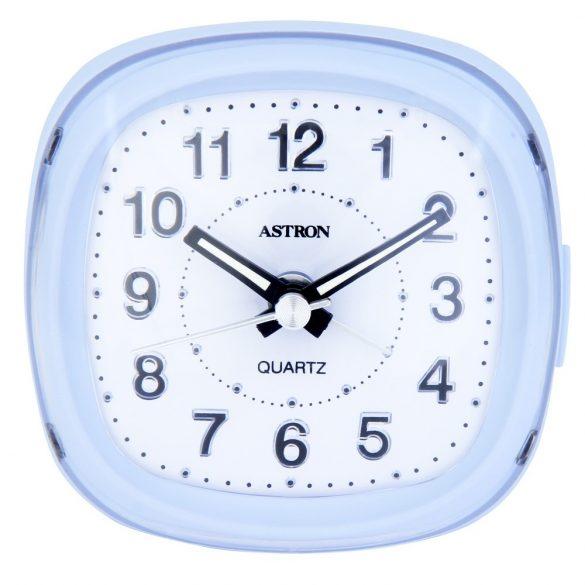 Astron ébresztőóra, quartz, fehér színű tok, kék ^LED^-es számlap
