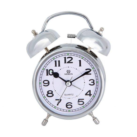 Merion fém ébresztőóra, quartz, ezüst színű, 3.5^
