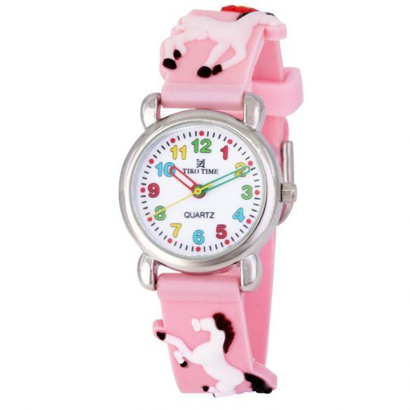 Tiko Time karóra gyerekeknek, quartz, 3D figurás rózsaszín alapon lovacskás szíj