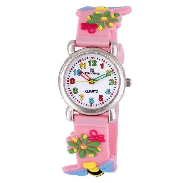 Tiko Time karóra gyerekeknek, quartz, 3D figurás rózsaszín alapon méhecskés szíj