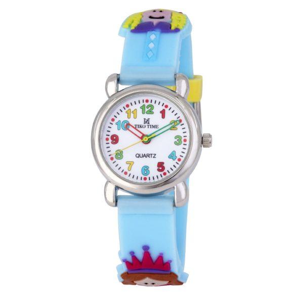 Tiko Time karóra gyerekeknek, quartz, 3D figurás kék alapon királylányos szíj