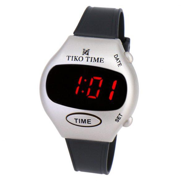 Tiko Time férfi karóra, LED-es, ezüst színű
