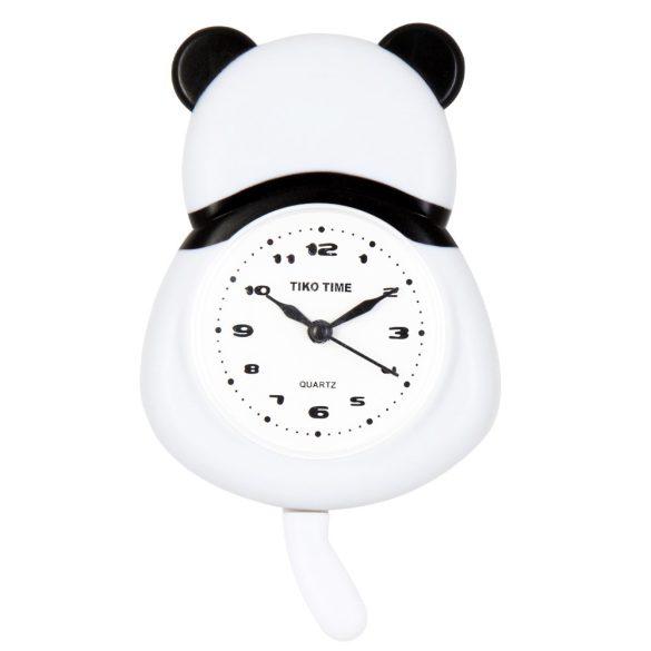 Tiko Time ébresztő falióra, fehér színű számlap, pandás tok
