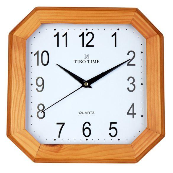 Tiko Time fa falióra, quartz, világosbarna színű tok, fehér számlap