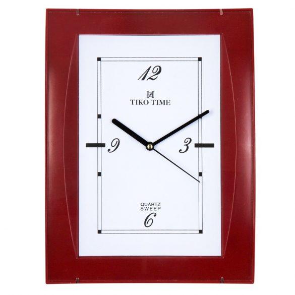 Tiko Time falióra, quartz, bordó színű tok, fehér számlap, sweep
