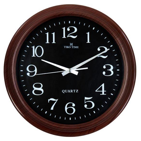 Tiko Time falióra, quartz, barna színű tok, fekete számlap