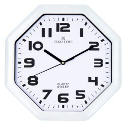 Tiko Time falióra, quartz, fehér színű tok, fehér számlap, sweep