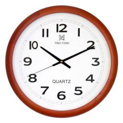 Tiko Time fa falióra, quartz, tölgy színű tok, fehér számlap