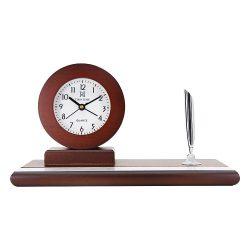 Tiko Time fa asztalióra, quartz, mahagóni, fehér, léptetős