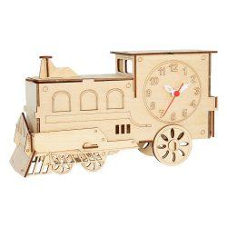 Asztali kreatív óra, fa, vonat forma, natúr szín